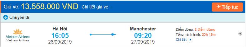 Vé máy bay đi Anh Manchester từ Hà Nội