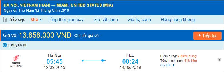 Vé máy bay đi Miami từ Hà Nội