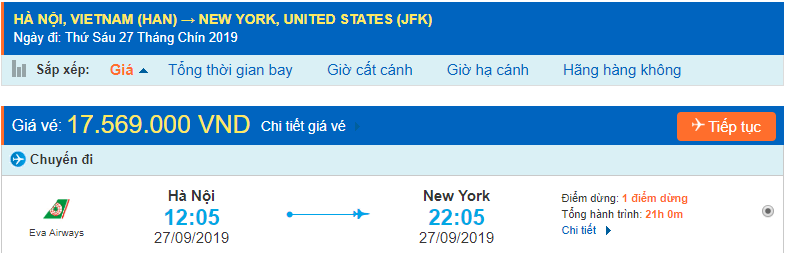 Vé máy bay đi New York Mỹ từ Hà Nội