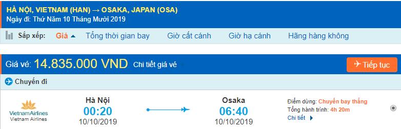 Vé máy bay đi Nhật Bản Osaka từ Hà Nội