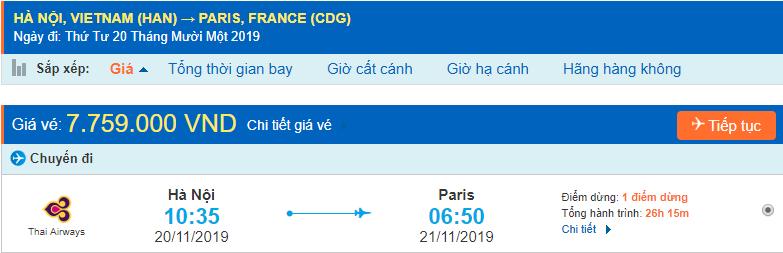 Vé máy bay đi Paris từ Hà Nội