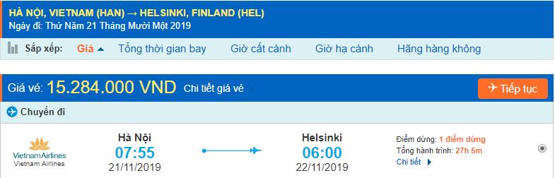 Vé máy bay đi Phần Lan từ Hà Nội