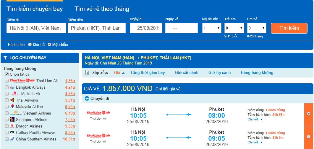 Giá vé máy bay đi Phuket từ Hà Nội