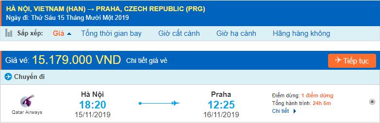 Vé máy bay đi Praha từ Hà Nội
