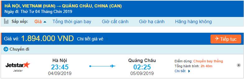 Vé máy bay đi Quảng Châu từ Hồ Chí Minh Jetstar Pacific