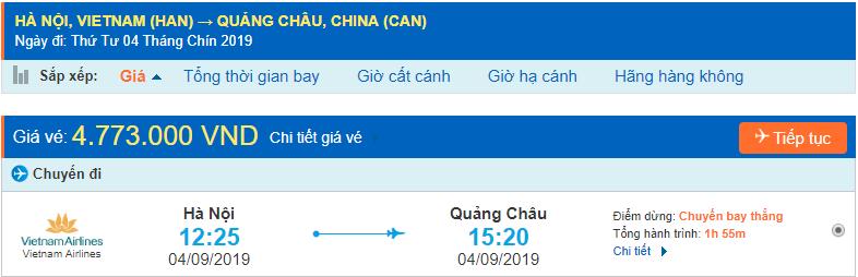 Vé máy bay đi Quảng Châu từ Hà Nội