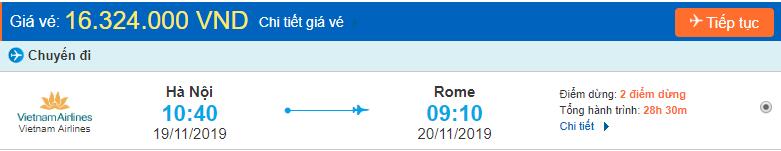 Vé máy bay đi Italia từ Hà Nội