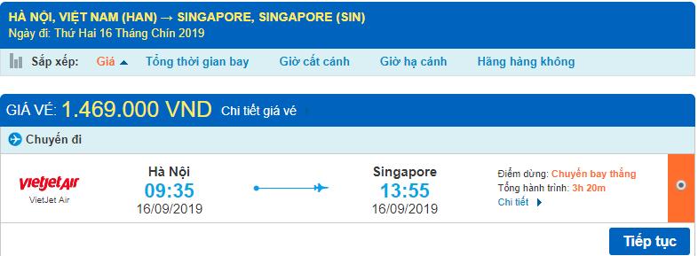 Vé máy bay đi Singapore Vietjet Air từ Hà Nội