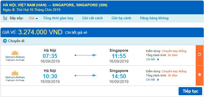 Giá vé máy bay đi Singapore Vietnam Airlines từ Hà Nội
