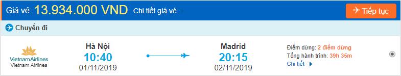 Vé máy bay đi Tây Ban Nha từ Hà Nội