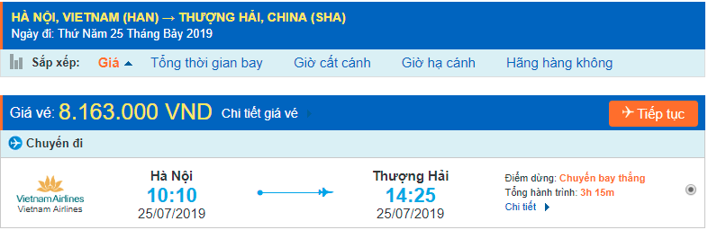 Vé máy bay đi Thượng Hải từ Hà Nội