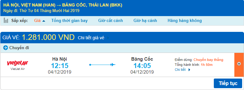 Vé máy bay đi Thái Lan Vietjet Air từ Hà Nội