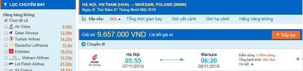 Vé máy bay đi Ba Lan từ Hà Nội