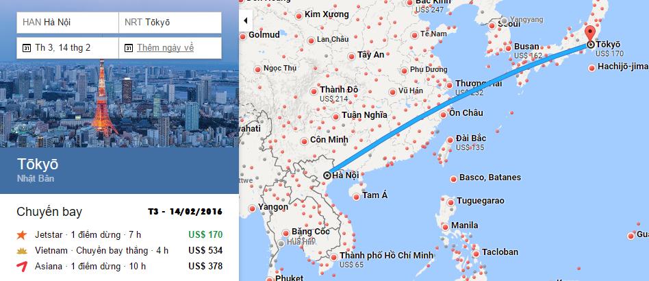 Bản đồ đường bay chặng Hà Nội - Narita, Tokyo