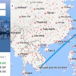 Bản đồ đường bay từ HCM đi Tokyo, Nhật Bản