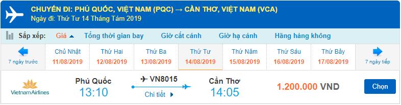 Giá vé máy bay từ Phú Quốc đi Cần Thơ