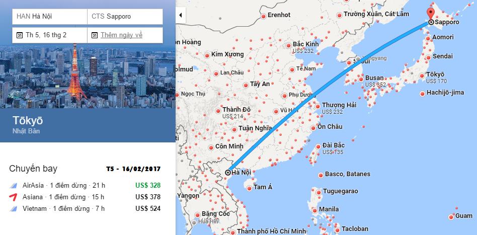 Bản đồ đường bay chặng Hà Nội - Sapporo