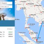 Bản đồ đường bay chặng Hồ Chí Minh - Singapore