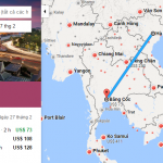 Bản đồ đường bay chặng Hà Nội - Bangkok