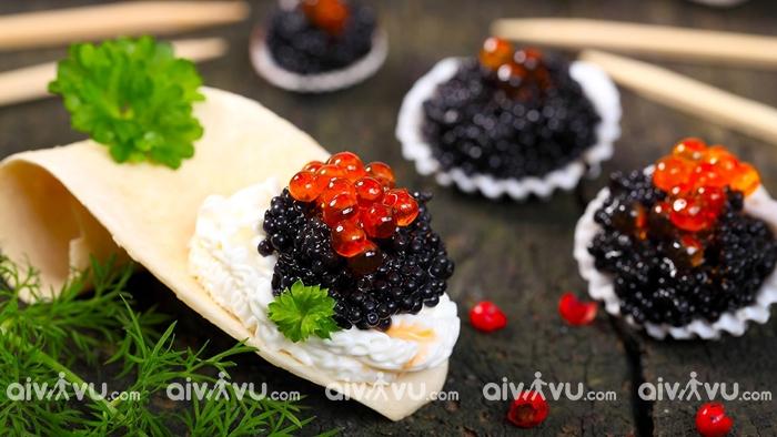 Cá hồi và trứng món ăn truyền thống của Nga
