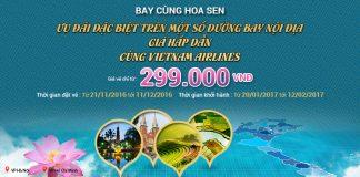 Ưu đãi lớn: Vé máy bay nội địa chỉ từ 299.000đ của Vietnam Airlines