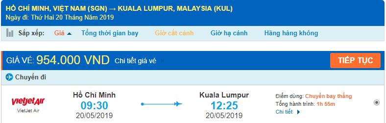 Vé máy bay đi Kuala Lumpur Vietjet Air từ Hồ Chí Minh
