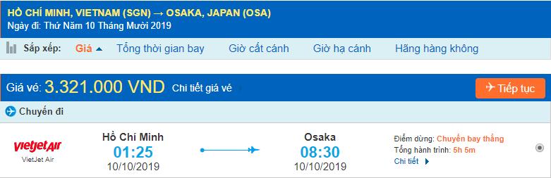 Vé máy bay đi Nhật Bản Osaka từ Hồ Chí Minh