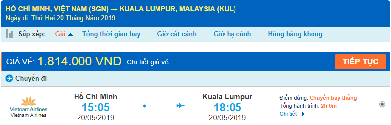 Vé máy bay đi Kuala Lumpur từ Hồ Chí Minh