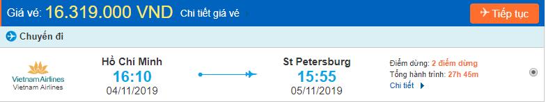 Vé máy đi Saint Petersburg từ Hồ Chí Minh