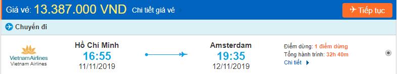 Vé máy bay đi Amsterdam từ Hồ Chí Minh