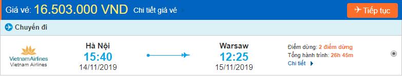 Vé máy bay Hà Nội đi Warsaw