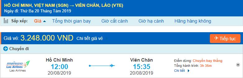 Vé máy bay đi Lào Viêng Chăn từ Hồ Chí Minh