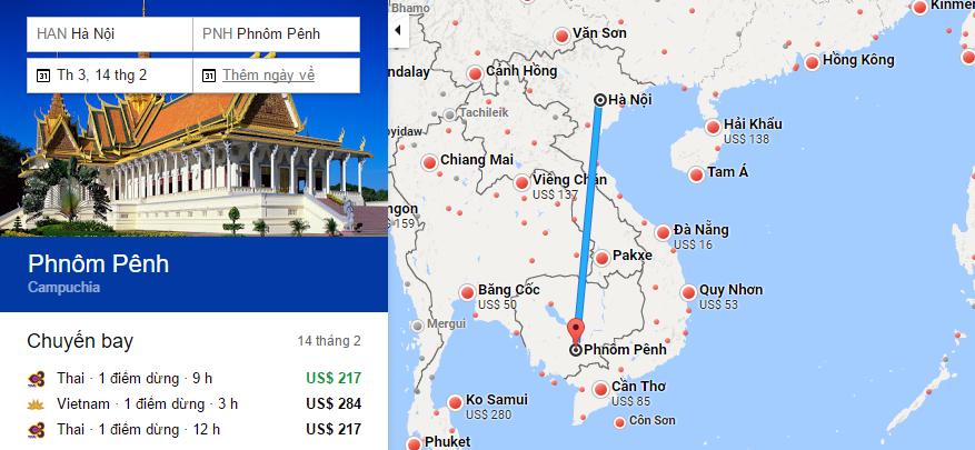 Bản đồ đường bay chặng Hà Nội - Phnom Penh, Campuchia