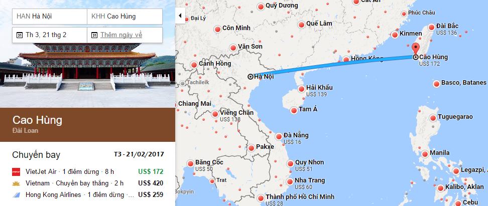 Bản đồ đường bay chặng Hà Nội - Cao Hùng