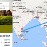 Bản đồ đường bay chặng Hà Nội - Chennai