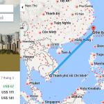 Bản đồ đường bay chặng Hồ Chí Minh - Đài Loan