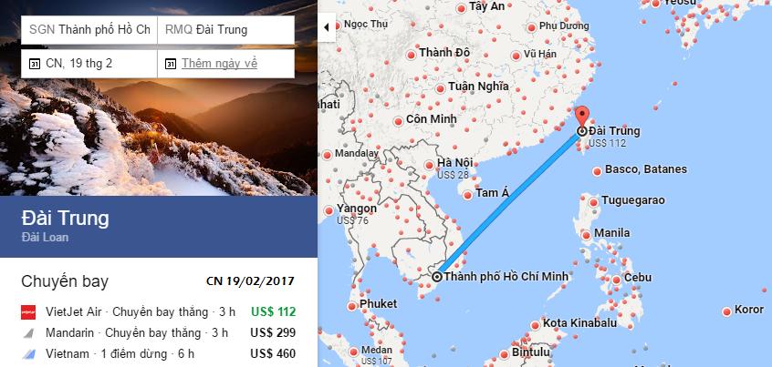 Bản đồ đường bay chặng HCM - Đài Trung