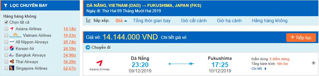 Vé máy bay đi Fukushima từ Đà Nẵng