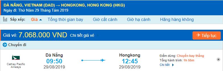 Vé máy bay đi Hong Kong từ Đà Nẵng Cathay Pacific Airways