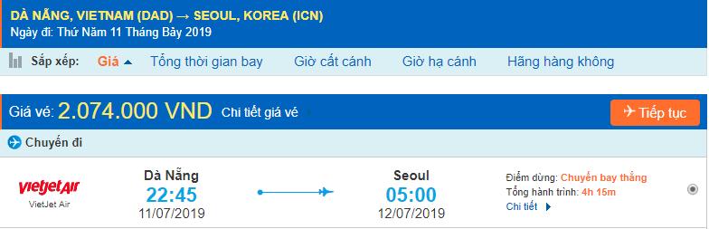 Vé máy bay giá rẻ đi Incheon từ Đà Nẵng Vietjet