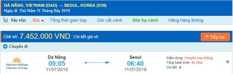 Vé máy bay giá rẻ đi Incheon từ Đà Nẵng