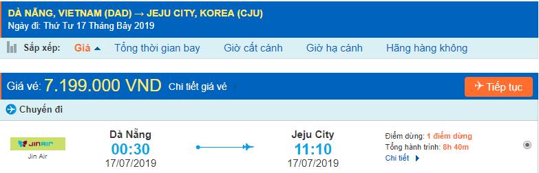 Vé máy bay đi Jeju từ Đà Nẵng