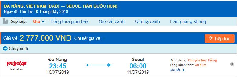 Giá vé máy bay đi Hàn Quốc từ Đà Nẵng