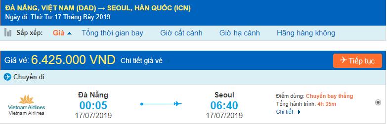 Vé máy bay đi Hàn Quốc từ Đà Nẵng