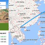 Bản đồ đường bay chặng Hà Nội - Fukushima