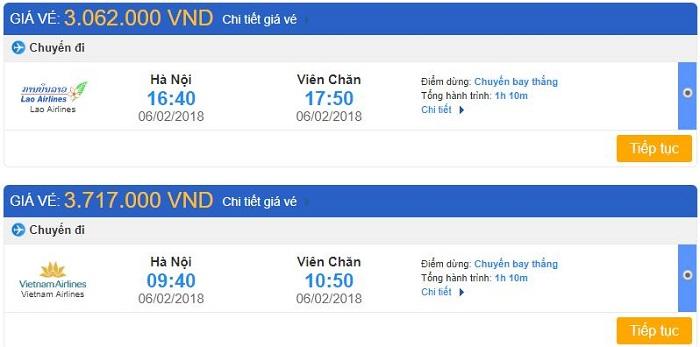 Vé máy bay Hà Nội đi Viêng Chăn