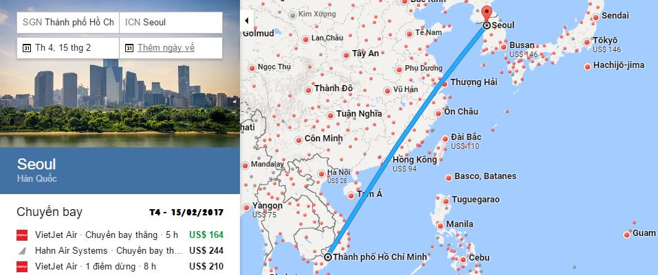 Bản đồ đường bay đi Hàn Quốc từ Sài Gòn