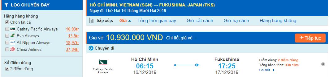 Vé máy bay đi Fukushima từ Hồ Chí Minh