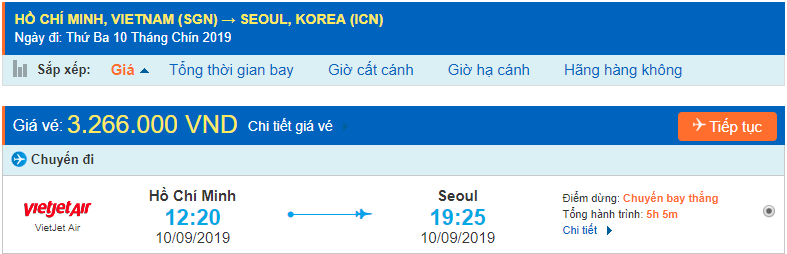 Vé máy bay giá rẻ đi Incheon từ Hồ Chí Minh