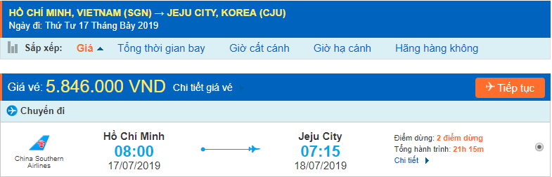 Vé máy bay đi Jeju từ Hồ Chí Minh